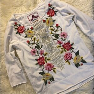 Johnny Was Floral Embroidered Long Sleeve Tee